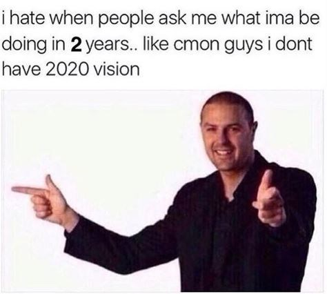 pic of man doing finger guns and a pun about having good eyesight in the year 2020