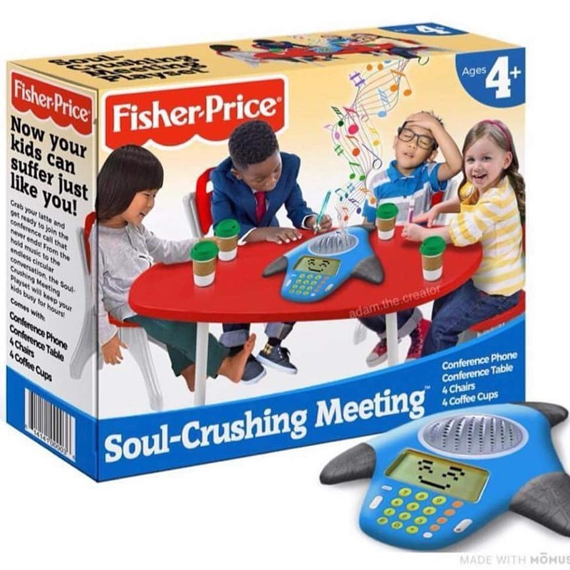 pic of children's game that simulates an office meeting