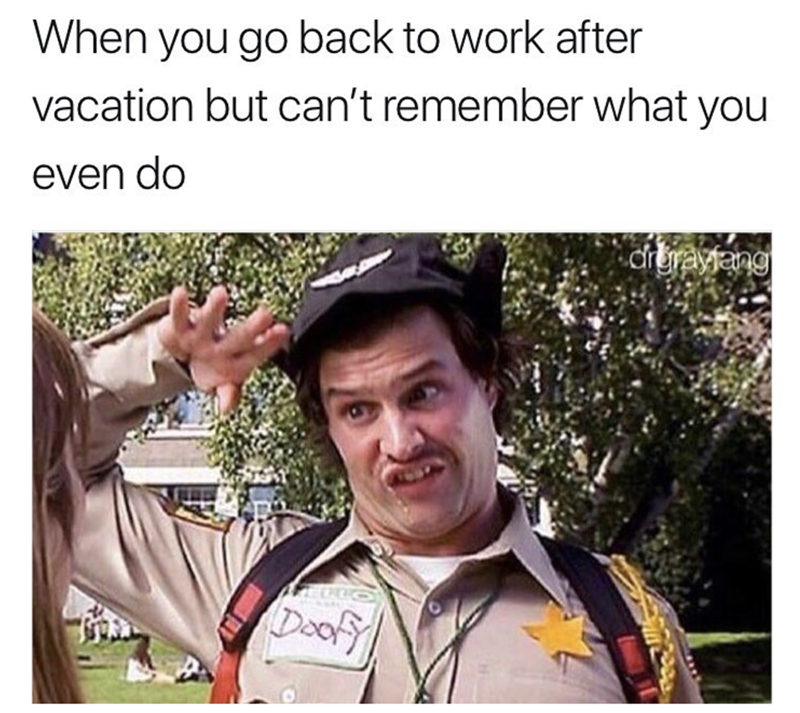 meme about coming back to work after time away and feeling like Doofy from Scary Movie