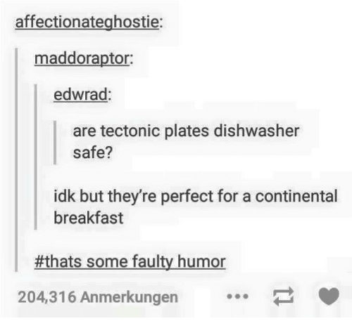 Tumblr thread making puns about tectonic plates