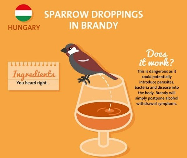 sparrow droppings in brandy as a hangover cure from hungary