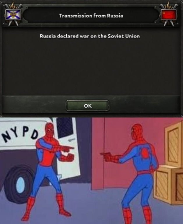 meme about Russia declaring war on themselves