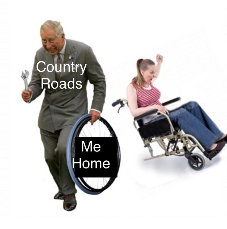 """dancing prince Charles meme removing a wheel from a wheelchair from """"take me home country roads"""""""