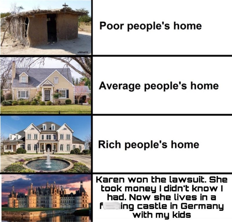 meme about different home sizes and one that was from a divorce agreement