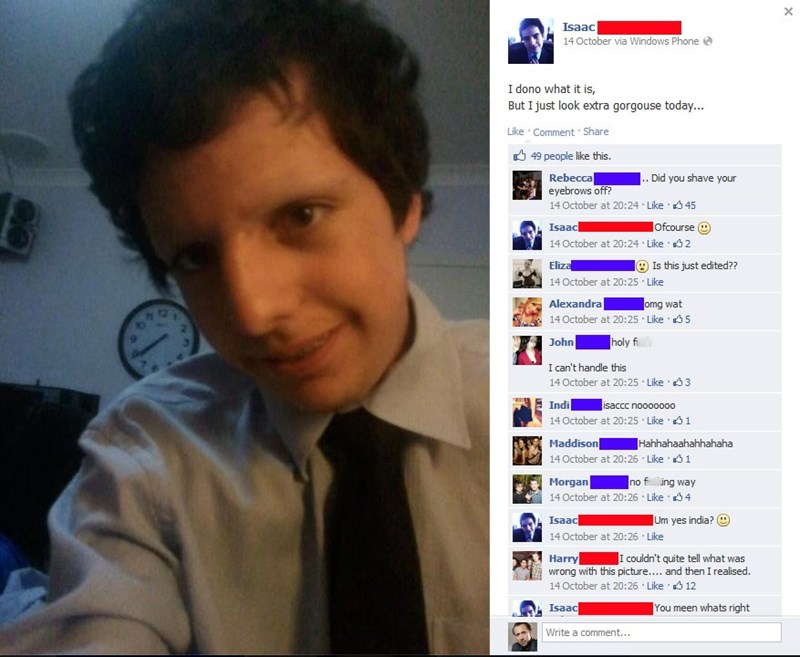 Guy shaves off his eyebrows and takes a selfie for Facebook