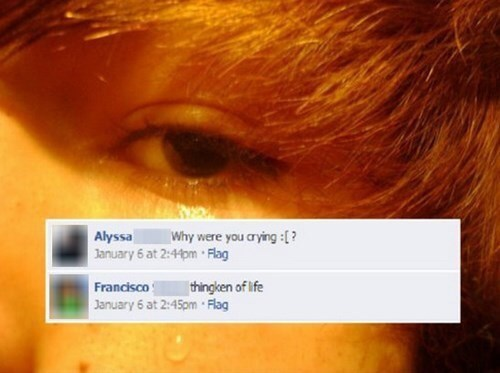 Facebook post by boy showing pics of himself crying while thinking about life