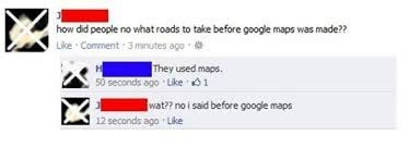 Facebook post by person thinking Google invented maps
