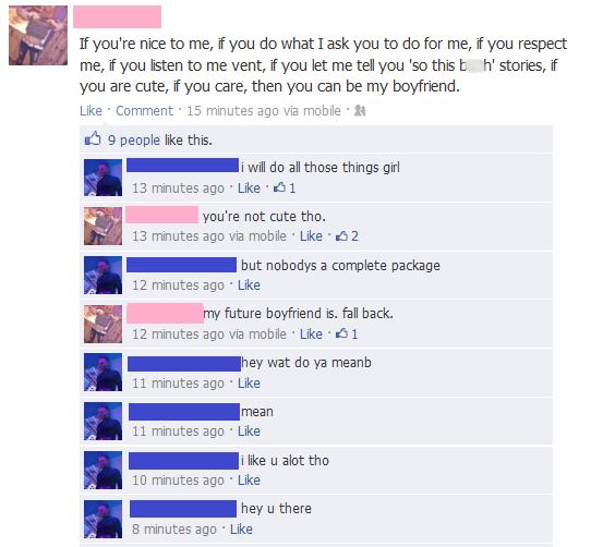 Facebook conversation between demanding girl and suitor with no self respect