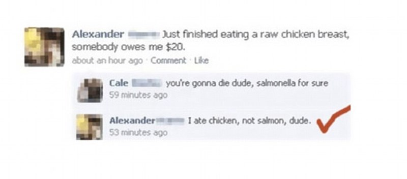 Facebook comment by person thinking you get salmonella from salmon