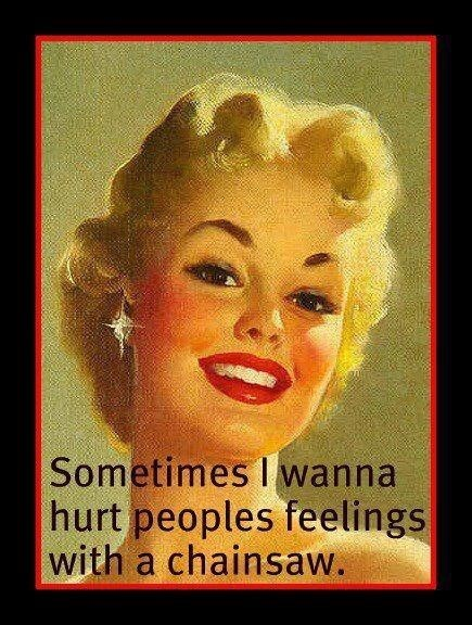 meme about wanting to hurt people with classic drawing of woman smiling