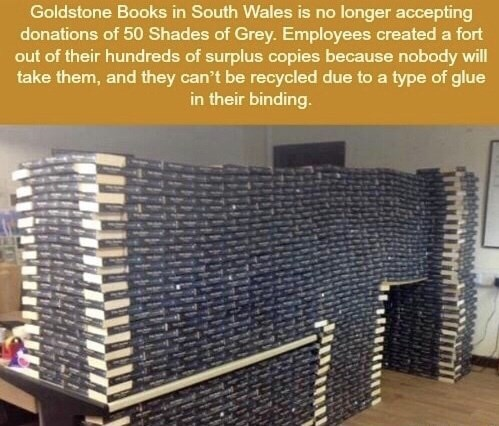 meme about bookstore employees building fort from 50 shades of Grey copies