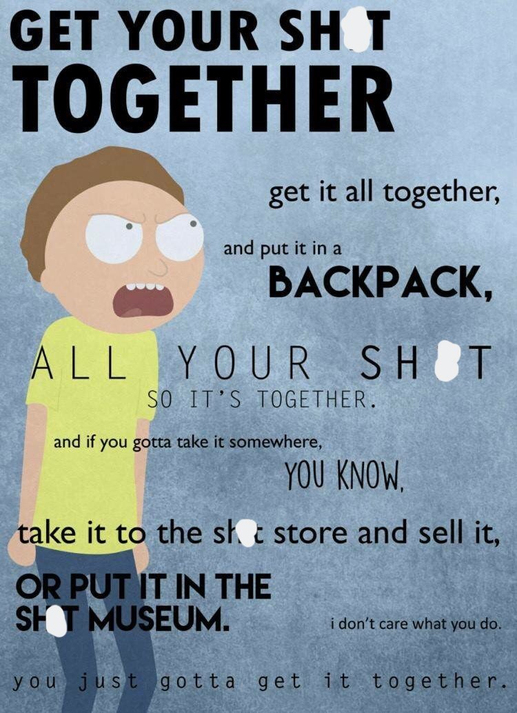 inspirational poster of Morty from Rick and Morty