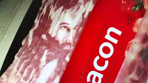 creepy Pic of a package of bacon that resembles Jesus' face
