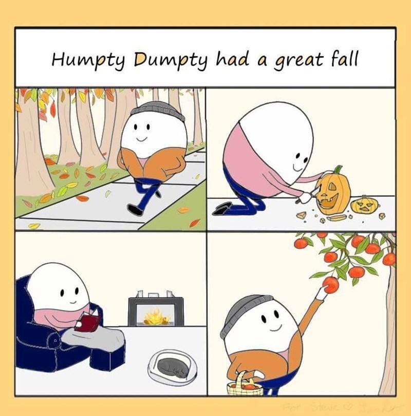comic showing Humpty Dumpty having a nice time doing season related activities