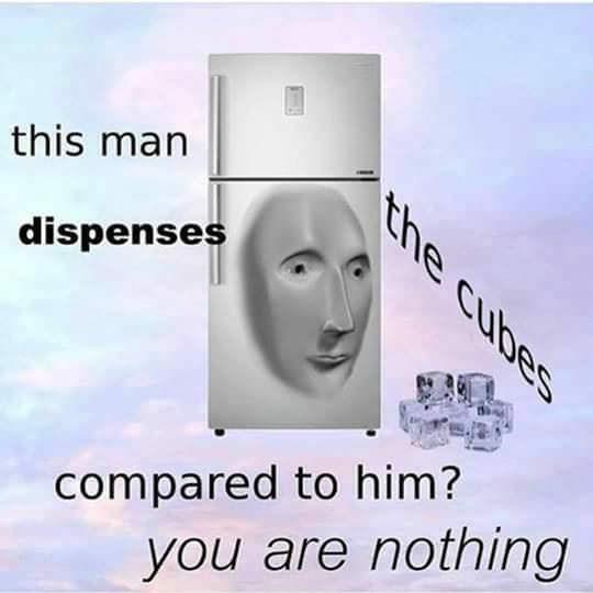 surreal meme of fridge with human face