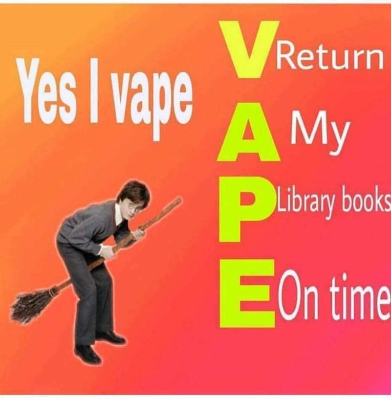 meme about Harry Potter vaping