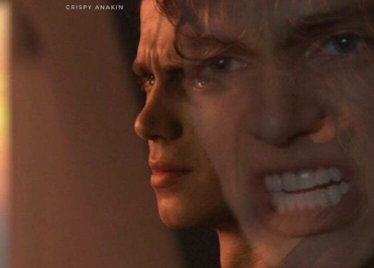 pic of calm Anakin Skywalker imposed over a pic of him screaming
