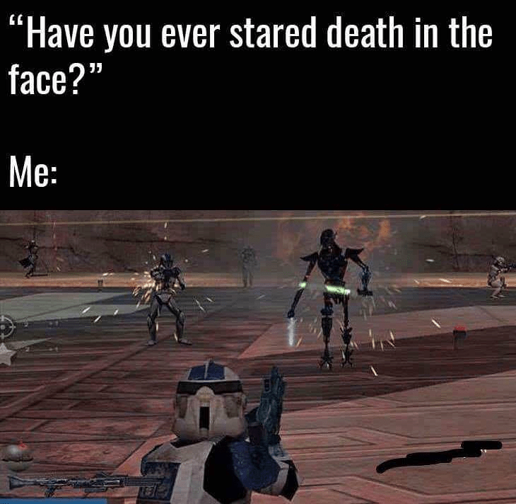 meme about playing a Star Wars video game