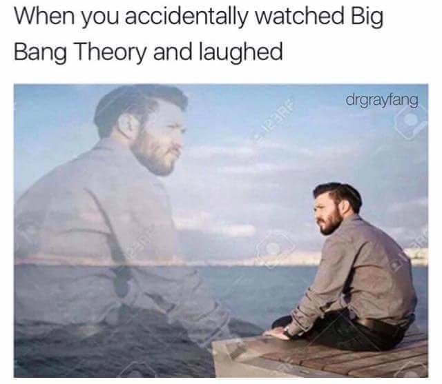 meme about hating yourself for laughing at Big Bang Theory with pic of man staring sadly at the sea