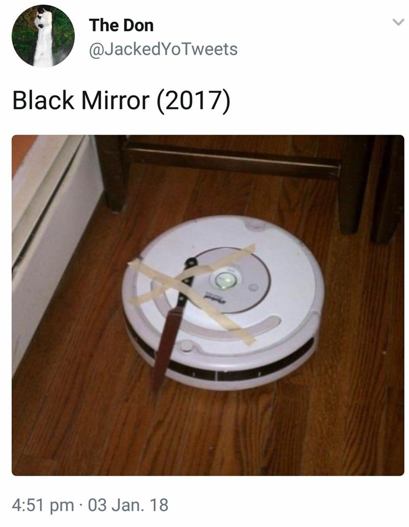 pic of an iRobot with a knife glued to it