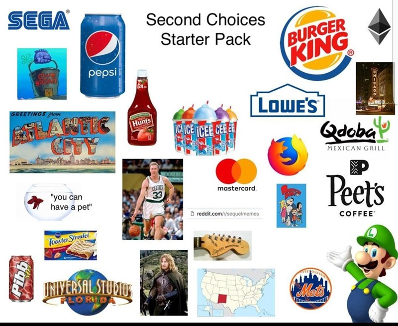 """Second choices starter pack"" featuring brands like Pepsi, Sega and Burger King"