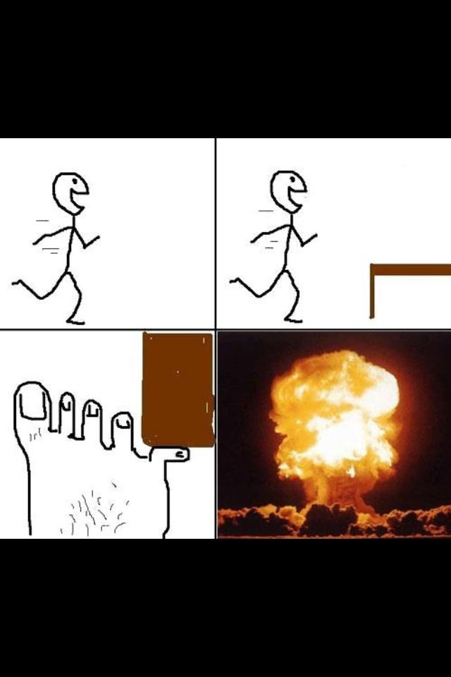 comic about stubbing your little toe with the final panel showing a nuclear explosion