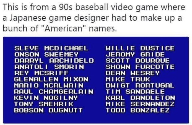 list of made up names that sound American to foreign ears