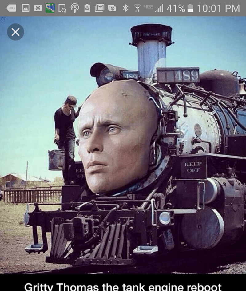 pic of Thomas the Tank Engine with Robocop's face photoshopped over him