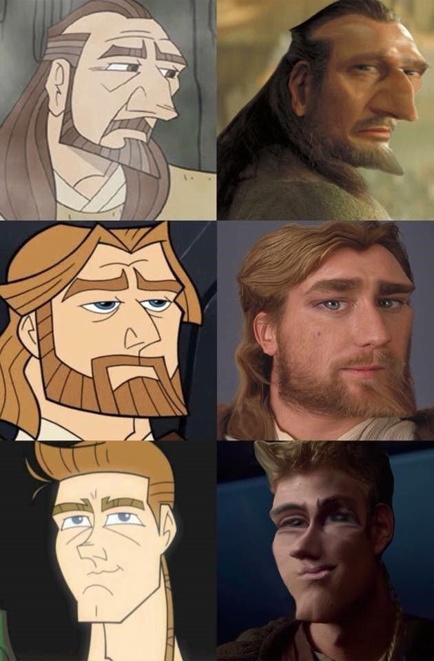 Star Wars live action characters photoshopped to look like the Clone Wars 2d animated ones