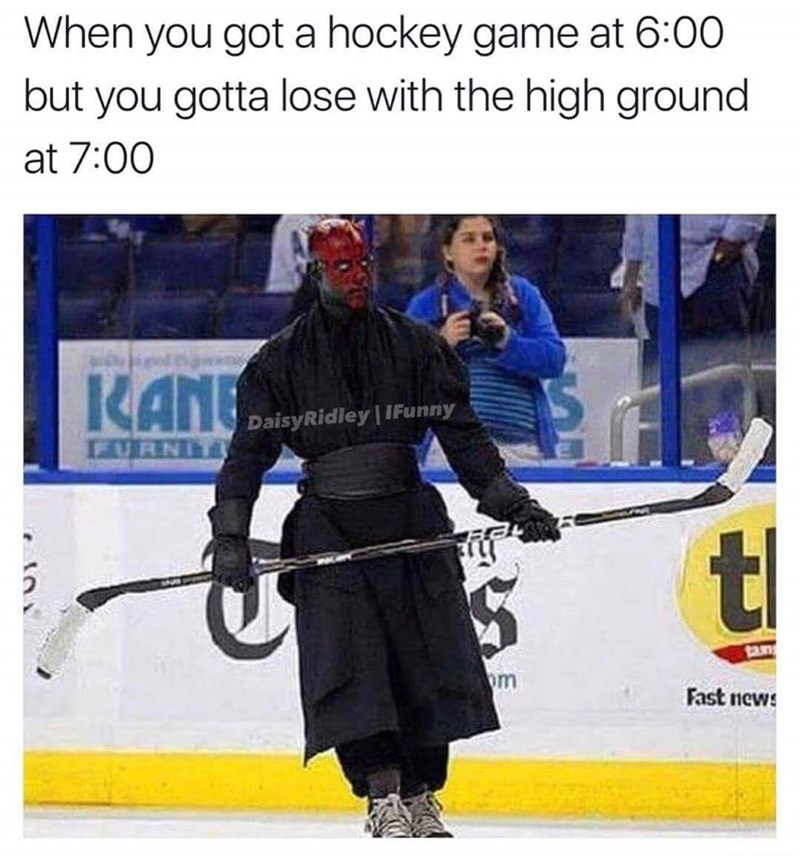 meme about a Darth Maul as a hockey player