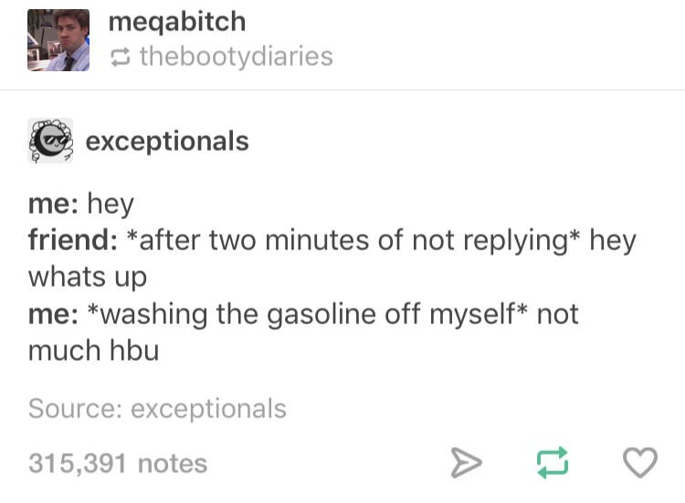 Tumblr post about overreacting when people take too long to reply to you