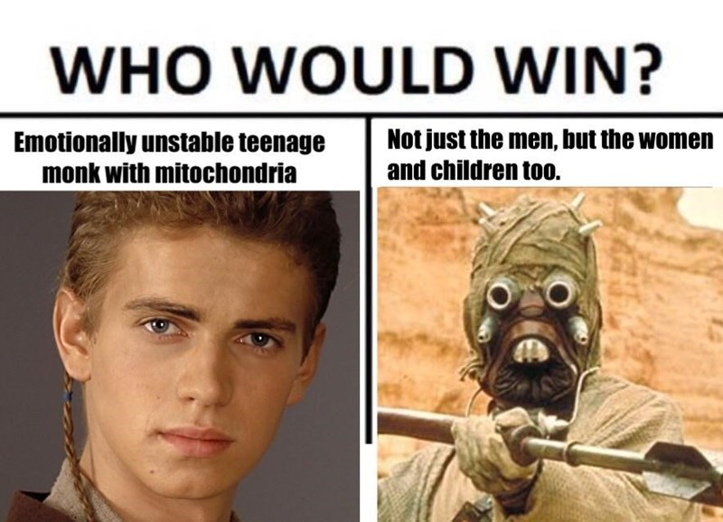 Star Wars meme about Anakin killing all the sand people