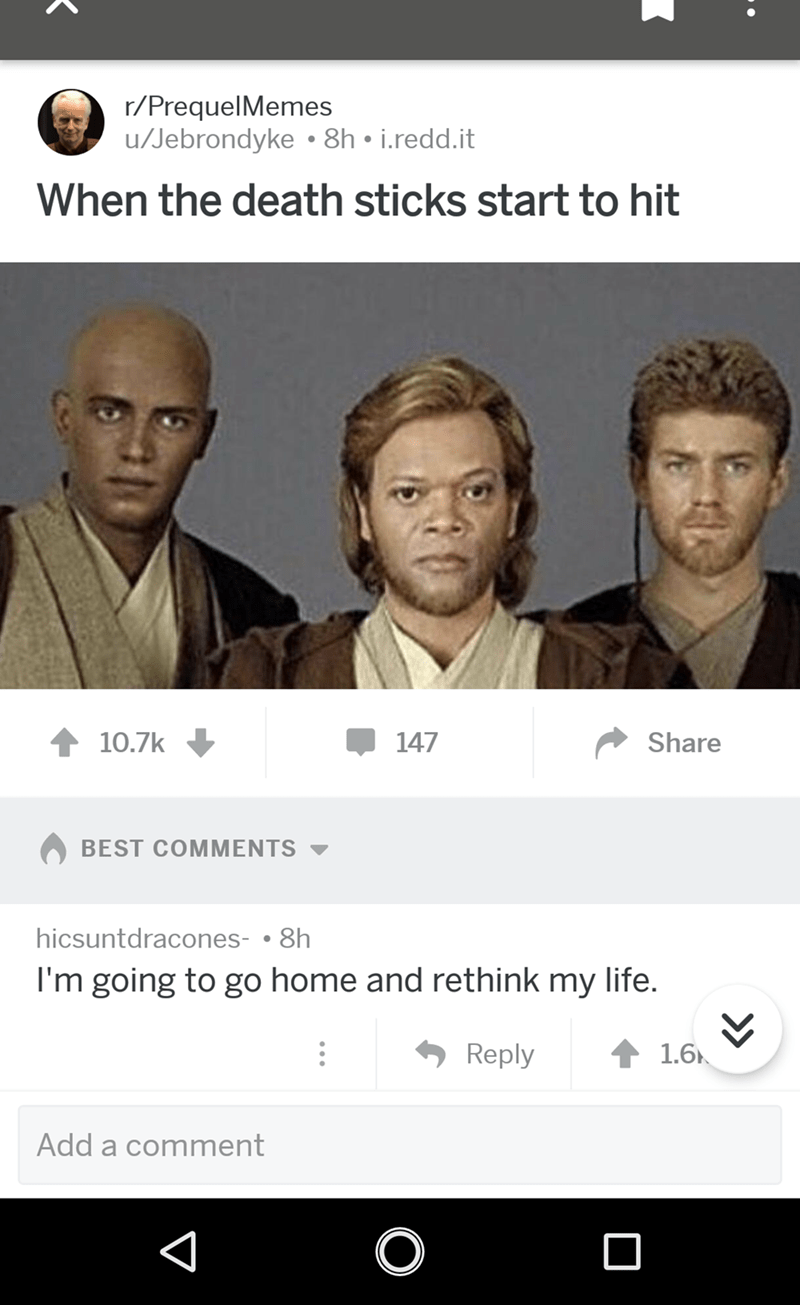 Star Wars meme about taking drugs with pic of characters with their faces swapped