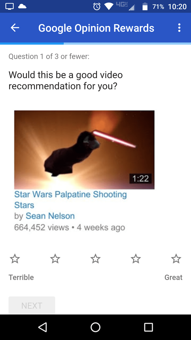 screenshot of Google Opinion Rewards recommending a Palpatine video