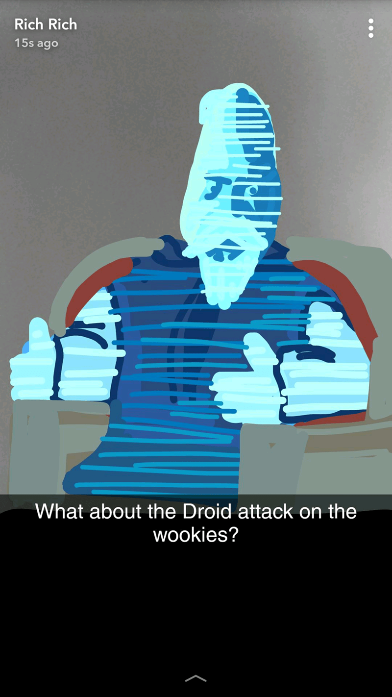 snapchat of the council scene from Star Wars about the wookies