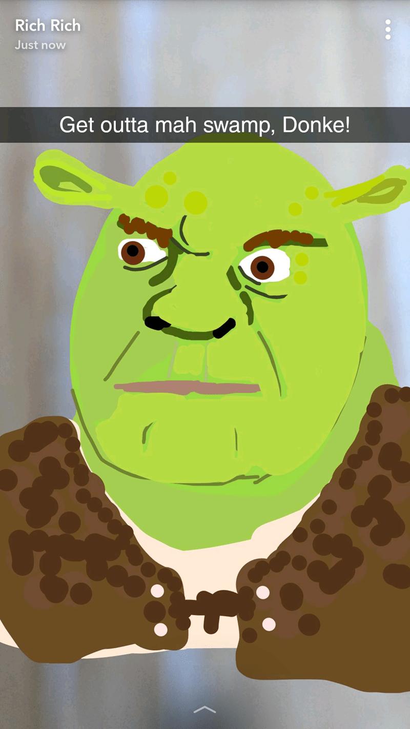 snapchat of a Shrek drawing