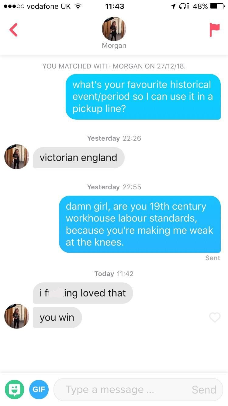 tinder convo using historical period to pick up a girl