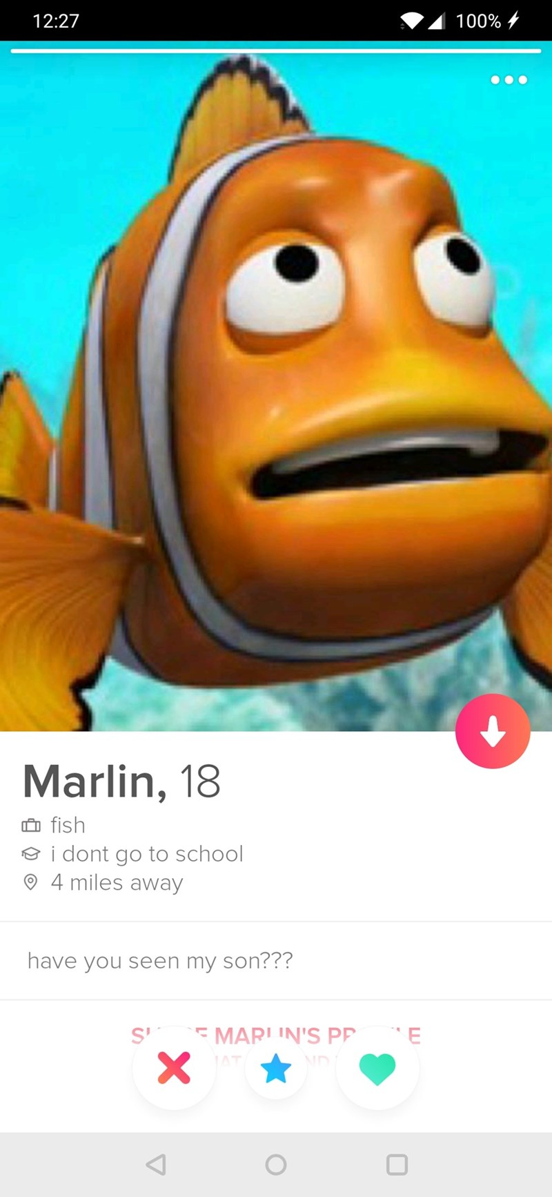 Fake Tinder profile for Marlin from Finding Nemo