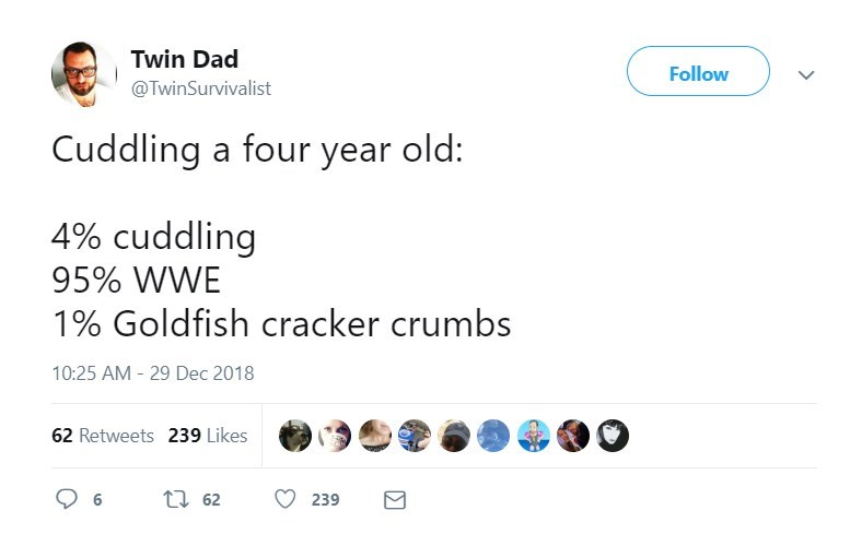 Text - Twin Dad Follow @TwinSurvivalist Cuddling a four year old: 4% cuddling 95% WWE 1% Goldfish cracker crumbs 10:25 AM -29 Dec 2018 62 Retweets 239 Likes ti62 239