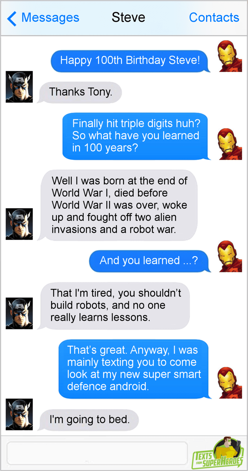 Text conversation between Captain American and Ironman where Ironman wishes him a happy 100th birthday