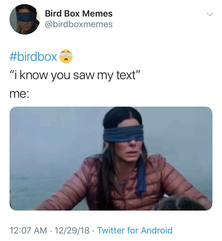 bird box meme about pretending you didn't see someone's text