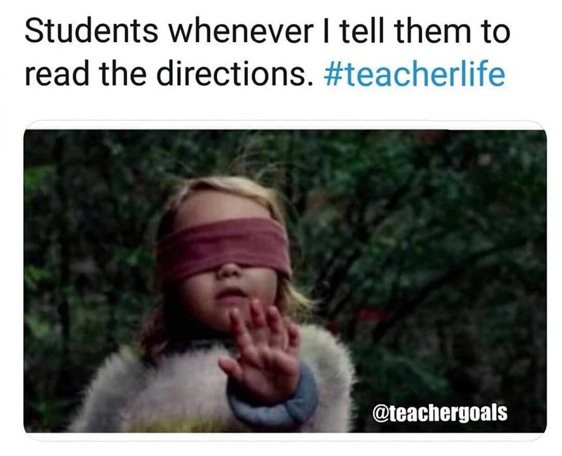 bird box meme about students never reading directions