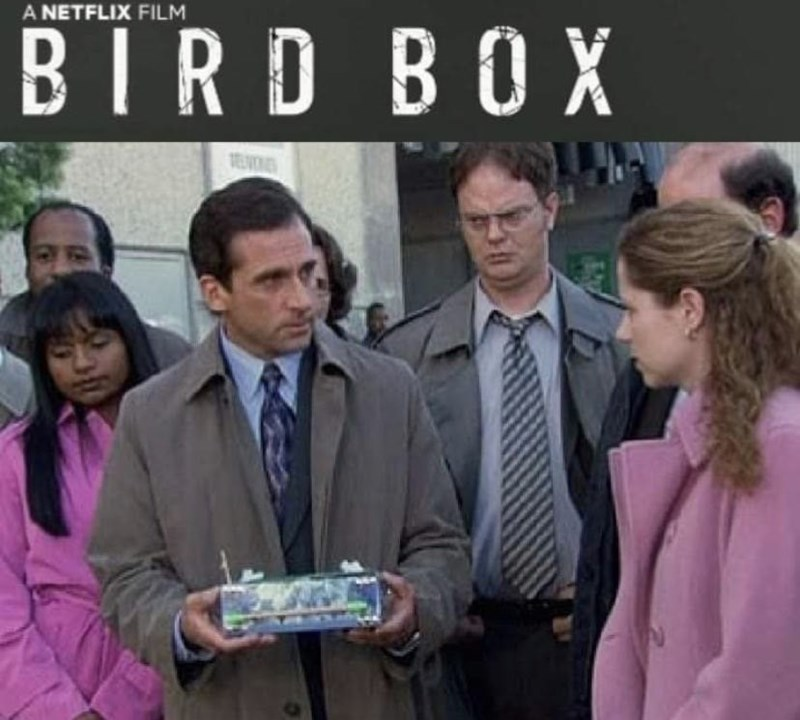 bird box meme with pic from The Office of Michael giving Pam a box