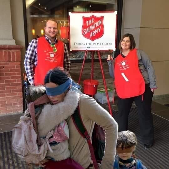 bird box meme about pretending not to see the salvation army bell ringers