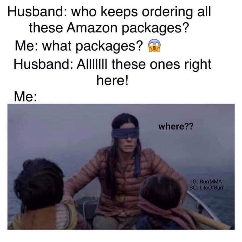 bird box meme about pretending not to see how many Amazon packages you've ordered