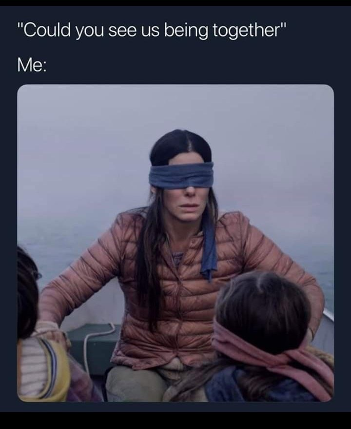 bird box meme about breaking up with someone