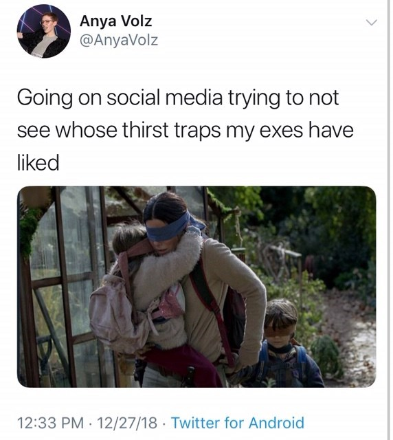 bird box meme about trying not to see what your ex does on social media