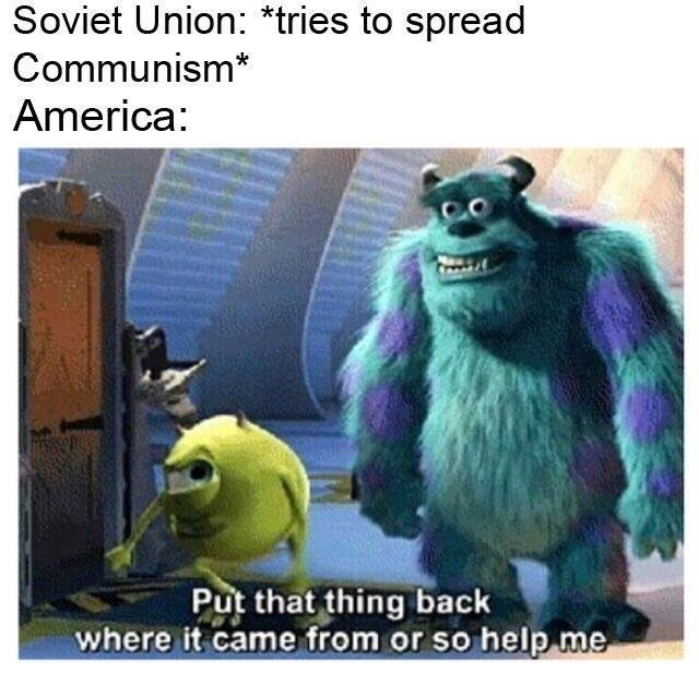 monsters inc meme comparing it to the soviet union and america on the topic of communism
