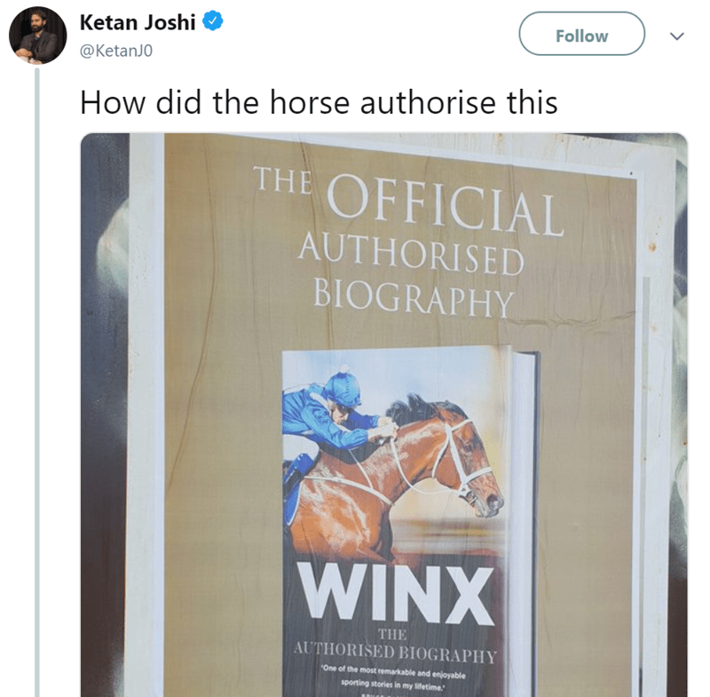 tweet wondering who authorized the biography of a horse
