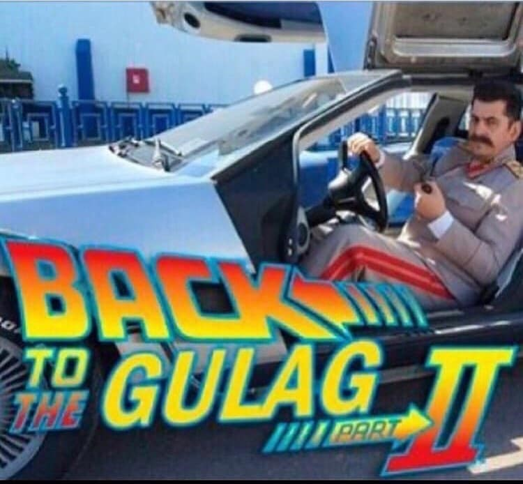 Back to the Future parody with pic of Stalin driving the delorean